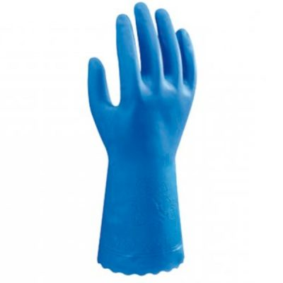 Guante de pvc flocado sobre forro de viscosa  Starter Showa  azul