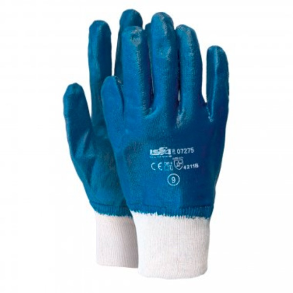 Guante en malla impregnado íntegramente en nitrilo Starter azul