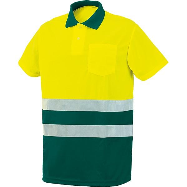 Polo AV bicolor manga corta Starter amarillo-verde
