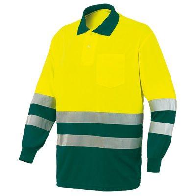 Polo AV bicolor manga larga Starter amarillo-verde