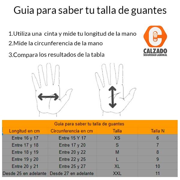 tabla de medir guantes