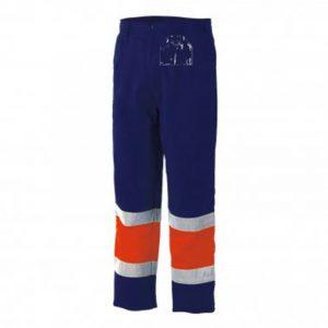 Pantalon alta visibilidad bicolor Starter naranja-azul