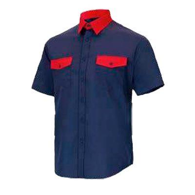 Camisa manga corta 2 bolsillos Cargo Vesin Bicolor azul-rojo