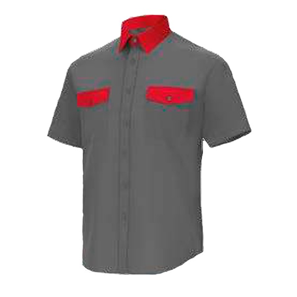 Camisa manga corta 2 bolsillos Cargo Vesin Bicolor gris-rojo