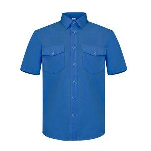 Camisa manga corta dos bolsillos Vesin gris azulita