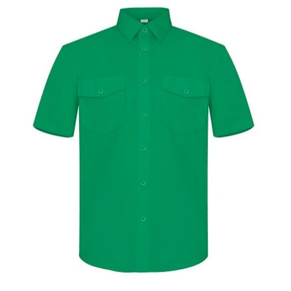 Camisa manga corta piléster-algodón, dos bolsillos Vesin verde