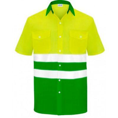 Camisa manga corta dos bolsillos alta visibilidad  Vesin verde