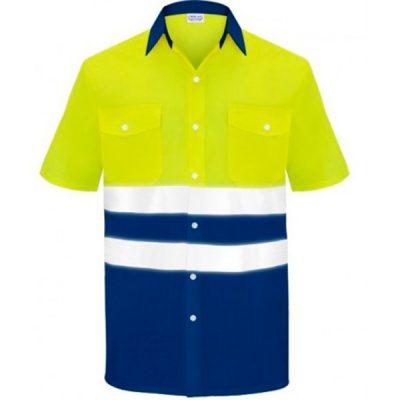 Camisa manga corta dos bolsillos alta visibilidad  Vesin azul