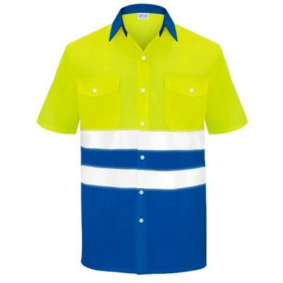 Camisa manga corta dos bolsillos alta visibilidad  Vesin azulita