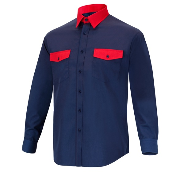 Camisa manga larga 2 bolsillos Cargo Vesin Bicolor azul-rojo