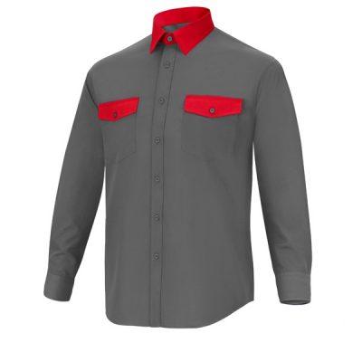 Camisa manga larga 2 bolsillos Cargo Vesin Bicolor gris-rojo