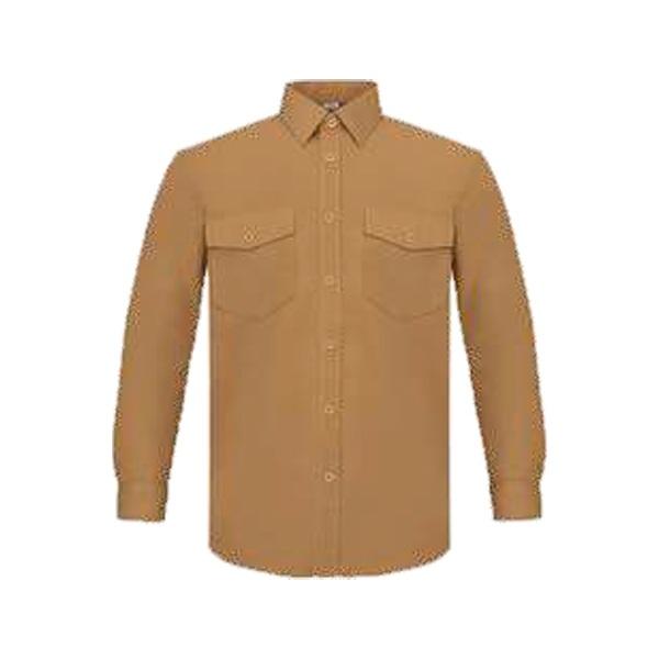 Camisa manga larga poliéster-algodón, dos bolsillos Vesin Beige.