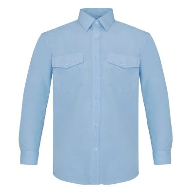 Camisa manga larga dos bolsillos Vesin celeste
