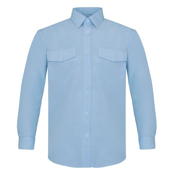 Camisa manga larga poliéster-algodón, dos bolsillos Vesin celeste.