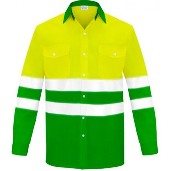 Camisa manga larga dos bolsillos alta visibilidad Vesin verde