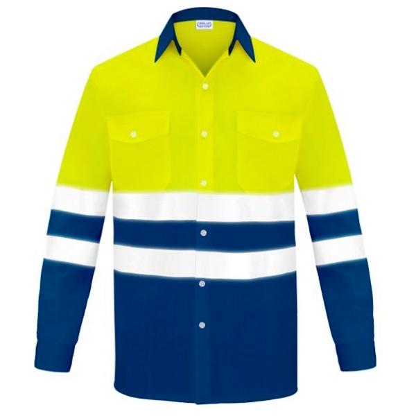 Camisa manga larga dos bolsillos alta visibilidad Vesin azul