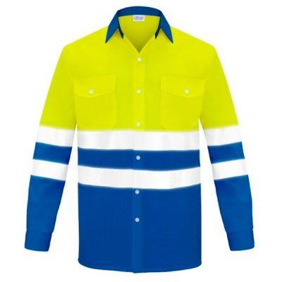 Camisa manga larga dos bolsillos alta visibilidad Vesin azulita