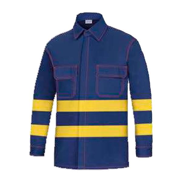 Camisa manga larga dos bolsillos vesin azul-amarillo