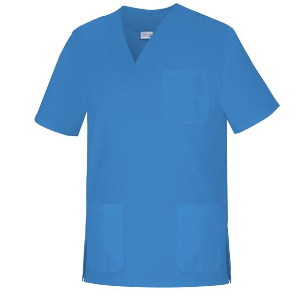 Casaca cuello pico unisex manga corta Vesin azul