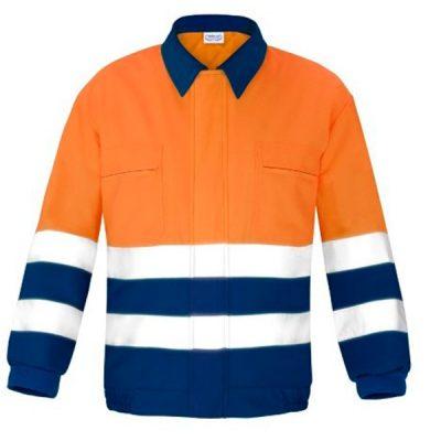 Cazadora Acolchado con cremallera alta visibilidad Vesin naranja-azul
