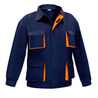Cazadora multibolsillos cremallera Vesin bicolor azul-naranja