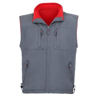 Chaleco de trabajo 5 bolsillos forro polar Vesin  Gris-rojo