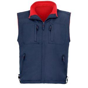 Chaleco 5 bolsillos forro polar Vesin azul-rojo