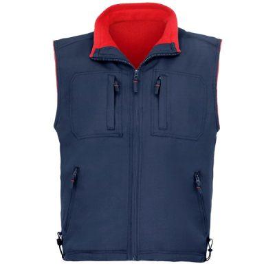 Chaleco de trabajo 5 bolsillos forro polar Vesin  azul-rojo