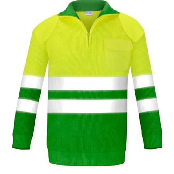 Jersey con bolsillo y refuerzos alta visibilidad Vesin verde
