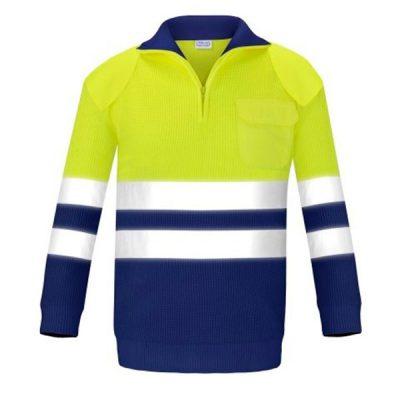 Jersey con bolsillo y refuerzos alta visibilidad Vesin azul