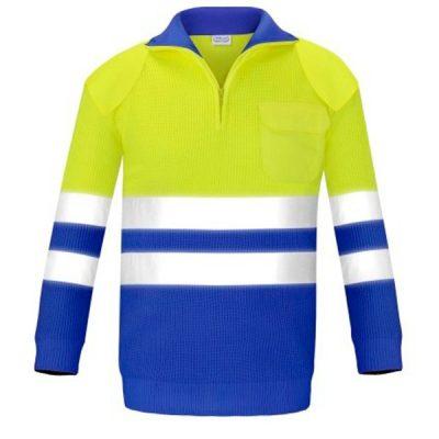 Jersey con bolsillo y refuerzos alta visibilidad Vesin azulita