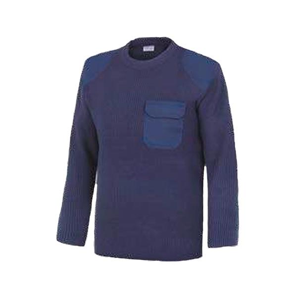 Jersey cuello redondo con refuerzos y bolsillo Vesin azul