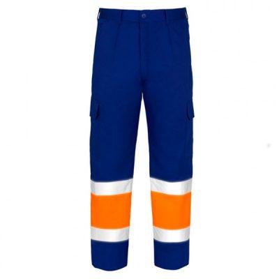 Pantalón Acolchado Multibolsillos de alta visibilidad Vesin naranja-azul