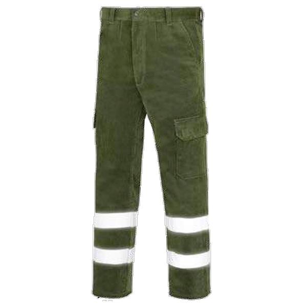 Pantalón de trabajo  de trabajo  de trabajo  de pana multibolsillos vesin reflex verde
