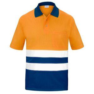 Polo Manga corta con Bolsillo Traspirable Alta Visibilidad Vesin naranja-azul