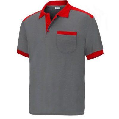 Polo cargo manga corta con bolsillo Vesin gris-rojo