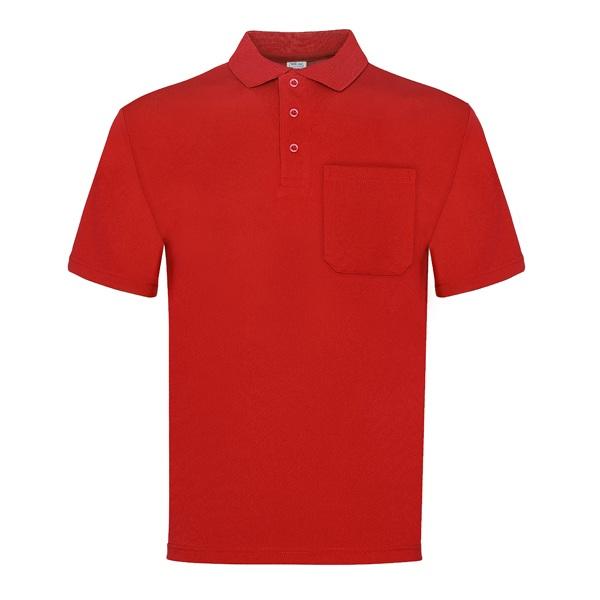 Polo manga corta 100% poliéster con bolsillo, Vesin color rojo.