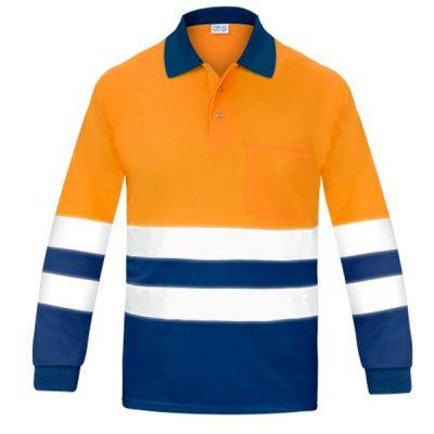 Polo manga larga alta visibilidad transpirable Vesin naranja-azul