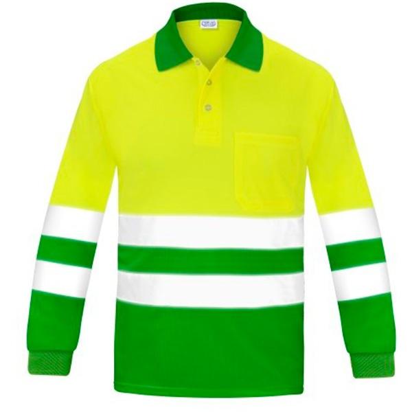 Polo manga larga alta visibilidad transpirable Vesin verde