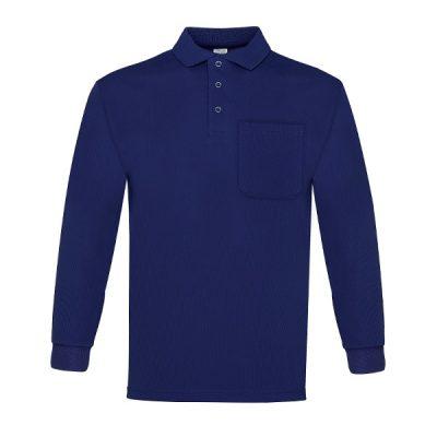Polo manga larga con bolsillo Vesin azul