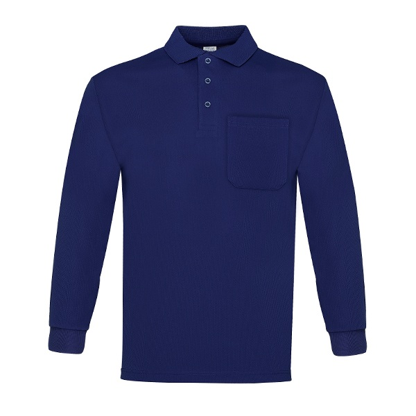 Polo manga larga 100% poliéster con bolsillo, Vesin color azul.