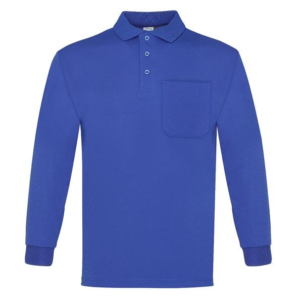 Polo manga larga con bolsillo 100% poliéster, Vesin color azulina.