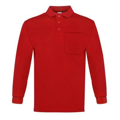 Polo manga larga con bolsillo Vesin rojo
