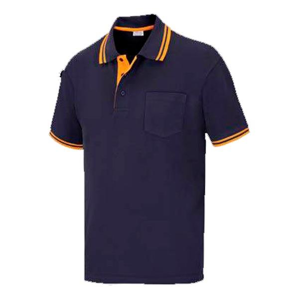 Polo pique manga corta y bolsillo de poliéster y algodón, vesin color azul marino.