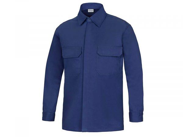 camisa manga larga dos bolsillos  vesin azul marino