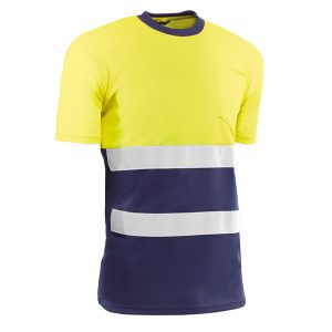 Camiseta de manga corta Juba HV721BCAZUL GALES Amarillo flúor - Azul marino