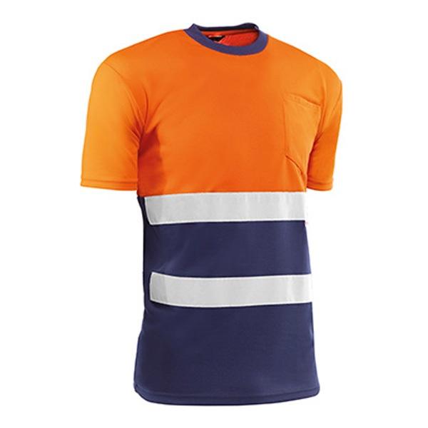 Camiseta de manga corta Juba HV731BCAZUL EIRE Naranja flúor - Azul marino