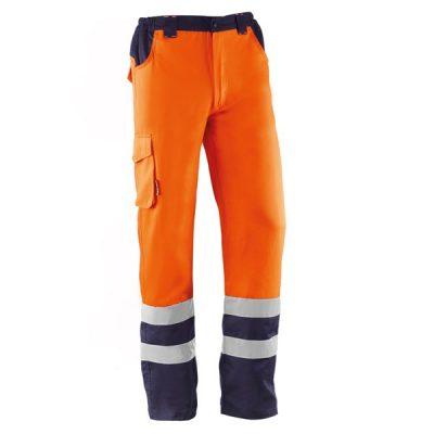 Pantalón multibolsillos Juba HV749BC DEVON Naranja Flúor - Azul Marino