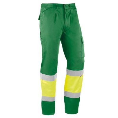 Pantalón multibolsillos Juba HV814 ITAKA Verde - Amarillo flúor