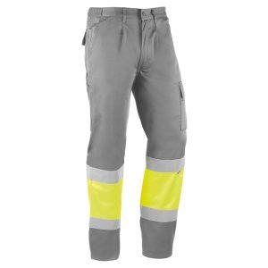 Pantalón multibolsillos Juba HV816 KYOTO Gris - Amarillo flúor